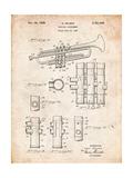 Trumpet Instrument Patent Poster par Cole Borders