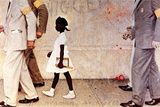 The Problem We All Live With (or Walking to School--Schoolgirl with U.S. Marshals) Gicléetryck av Norman Rockwell