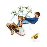 Young Love: Swinging Gicléetryck av Norman Rockwell