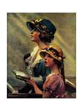 Mother and Daughter Singing in Church Giclee Print by Norman Rockwell