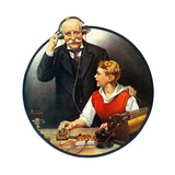 Grandpa Listening In on the Wireless Giclee Print by Norman Rockwell