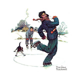 Grandpa and Me: Ice Skating Giclee Print by Norman Rockwell