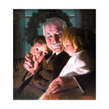 The Story of Christmas (or Grandfather with Two Children) Giclee Print by Norman Rockwell