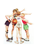 Four Sporting Boys: Basketball Giclée-Druck von Norman Rockwell