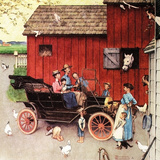 The Farmer Takes a Ride Giclee-trykk av Norman Rockwell