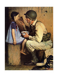 The American Way (or Soldier Feeding Girl) Giclee Print by Norman Rockwell