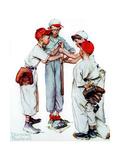 Four Sporting Boys: Baseball Giclee-trykk av Norman Rockwell
