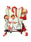 Santa Looking at Two Sleeping Children (or Santa Filling the Stockings) Giclee Print by Norman Rockwell