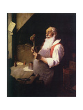 Santa's Workshop (or Santa working in his shop) Giclee Print by Norman Rockwell