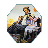 Home from the County Fair (or Father and Children in Carriage) Giclee Print by Norman Rockwell