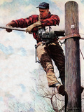 The Lineman (or Telephone Lineman on Pole) Giclée-tryk af Norman Rockwell