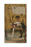 Stork with Baby Illustrations Affiche