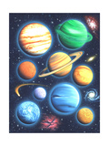 Arrangement of Colorful Planets on Galaxy Background Poster