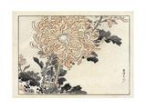 Close Up of Stylized Chrysanthemum on Bamboo Premium Giclee Print
