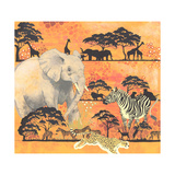Elephant, Zebra, and Cheetah with Other Animals on Orange Background Lámina giclée prémium