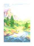 Mountain River Landscape in Watercolor Prints