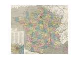 Colored Map of France Affiches