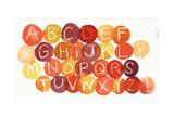 White Crayon-Drawn Alphabet on Colorful Dots Julisteet