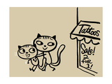 Cat Pushing Friend Away from Tattoo Parlor Pôsters