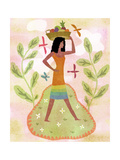 Woman Walking with Basket of Fruit on Her Head Affiches