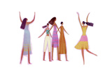 Five Women, Two with Arms Raised Plakat
