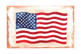 Waving American Flag Painted onto a Piece of Wood Poster