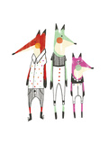 Whimsical-Style Foxes Wearing Shirts and Pants Poster