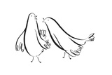 Two Pen and Ink Doves Poster