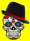 Hipster Skull Horror In Yellow Affiches par  Wonderful Dream