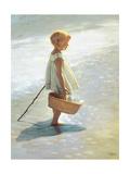 Chica joven en una playa Lámina giclée por I. Davidi