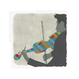 Man Playing Brightly Striped Violin Posters