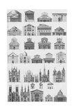 Black and White Cathedral Diagram Illustrations Posters