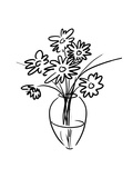 Black and White Line Art of Flowers in a Vase Pôsters