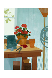 Potted Geraniums on Potting Table with Garden Tools Art