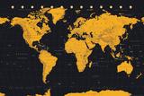 World Map Gold & Black Poster