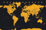 World Map Gold & Black Póster