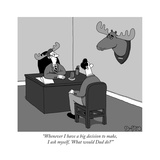 """""""Whenever I have a big decision to make, I ask myself, 'What would Dad do - New Yorker Cartoon Reproduction giclée Premium par J.C. Duffy"""