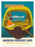 Singapore - American President Lines Art by John Russell Clift