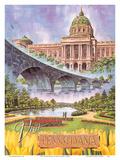 Visit Pennsylvania - Harrisburg, PA - State Capitol, Rockville Bridge, Italian Lake Park Prints by Bart Sloane