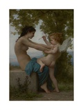 A Young Girl Defending Herself Against Eros, 1880 Prints by William Adolphe Bouguereau