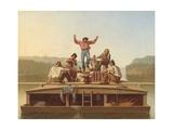 The Jolly Flatboatmen, 1846 Gicléedruk van George Caleb Bingham