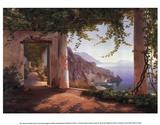 Vista de la costa amalfitana Lámina por Carl Frederic Aagaard