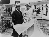 Adolph Zukor and Jesse Lasky at a Construction Site Holding Blueprints Foto