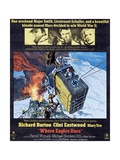 Where Eagles Dare, Top L-R: Richard Burton, Clint Eastwood, Mary Ure on Poster Art, 1968 Giclee Print