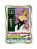 Gentlemen Prefer Blondes (aka Gli Uomini Preferiscono Le Bionde), Italian Poster Art, 1953 Impressão giclée
