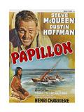 Papillon, Steve Mcqueen, Ratna Assan, Belgian Poster, 1973 Giclee Print