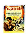 Scaramouche, Eleanor Parker, Stewart Granger, (Belgian Poster Art), 1952 Giclée-tryk