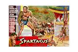 Spartacus, (Top Left): Kirk Douglas, (Belgium Poster Art), 1960 Reproduction procédé giclée
