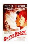 On the Beach, from Left: Gregory Peck, Ava Gardner, on French Poster Art, 1959 Giclee-trykk