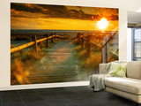 Sunset Beach Dock Non-Woven Vlies Wallpaper Mural Mural de papel pintado